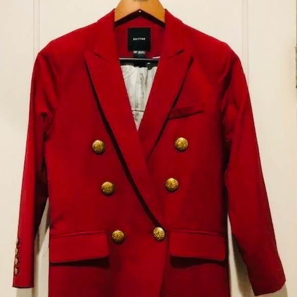 SMYTHE SZ 6 mini double-breasted red blazer 🤩